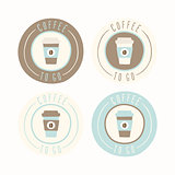 Coffee to go. Set of 4 badges.