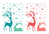 Christmas deer, vector set