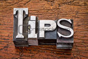 tips word in metal type
