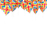 Balloon frame with flag of aland islands
