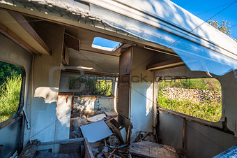 Old ruined trailer