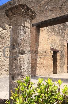 Ancient column in Pompeii, Italy