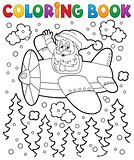 Coloring book Santa Claus in plane