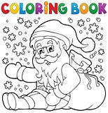 Coloring book Santa Claus in snow 1