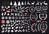 Big white Christmas set, vector