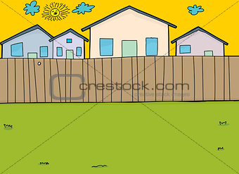 Houses Behind Wooden Fence
