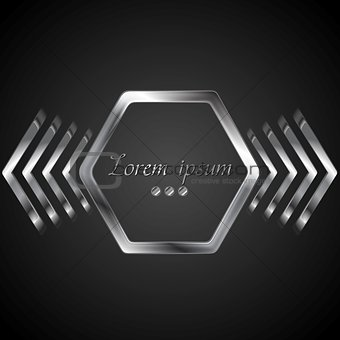 Abstract metal logo design with hexagon and arrows