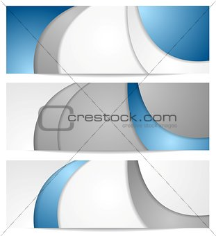 Corporate wavy blue and grey banners