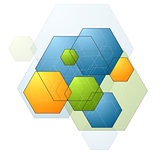 Colorful bright geometry hexagons background