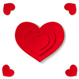 Hearts on white background