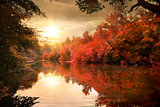 Autumn sunset over river