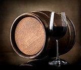 Red wine and a wooden barrel