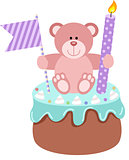 Teddy bear up birthday cake