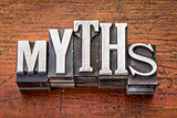 myths word in metal type