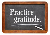 practice gratitude on blackboard