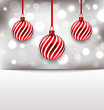 Christmas glossy card with red balls