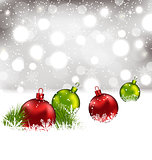 Christmas winter background with colorful glass balls