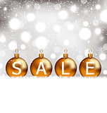 Winter glowing background with balls lettering sale