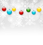 Christmas snowflakes background with set colorful balls