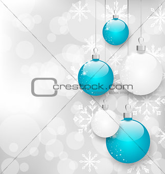 Christmas card with colorful balls and copy space for your text