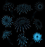 Set different fireworks on dark background