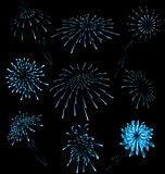 Set different fireworks on dark background