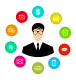Businessman around icons social media networks and innovation id