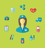 Set trendy medical icons in flat style