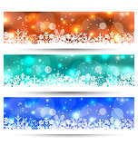 Set Christmas glowing cards with snowflakes