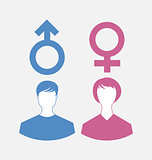 Male and female icons, gender symbols