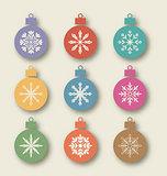 Set vintage balls with different symmetrical snowflakes