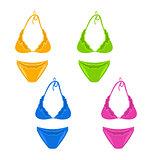 Set colorful female swimsuit or underwear isolated on white back