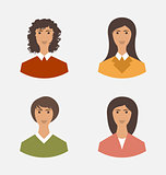 Avatar set front portrait office employee business woman for web