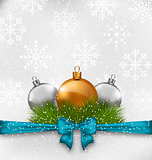 Christmas background with fir twigs and glass balls