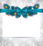 Greeting elegant invitation with Christmas decoration