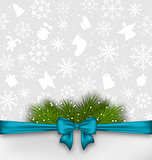 Christmas background with bow ribbon and fir twigs