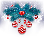 Christmas background with fir branches, glass balls and sweet ca