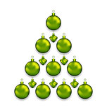 Christmas tree made of glass balls, isolated on white background