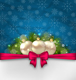 Christmas elegance card with fir branches and glass balls