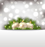 Merry Christmas postcard with fir branches and golden balls