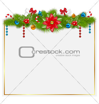 Greeting card with traditional Christmas elements