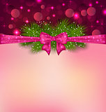 Christmas elegance background with fir branches and bow ribbon