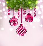 Christmas fir branches and glass balls, copy space for your text