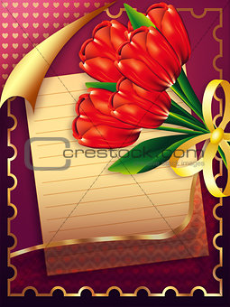 Card with tulips