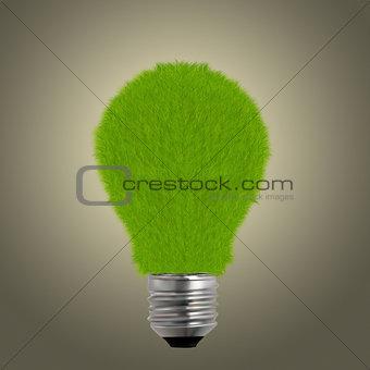 Green grass on light bulb