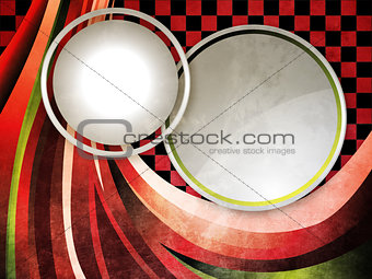 Grunge circles with ribbons