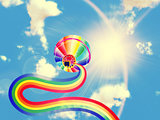 Hot air balloon with rainbow