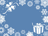 Christmas greeting card in blue shades