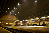 railway station at night in Lvov