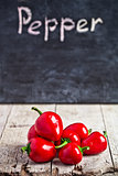 red hot peppers and blackboard